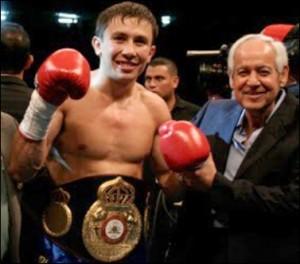 Gennady Golovkin, campeón mundial medio AMB y Gilberto Mendoza, Presidente de la AMB